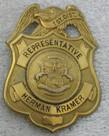 "1930's Vintage "" MICHIGAN STATE REPRESENTATIVE-1ST DISTRICT"" Badge-Herman Kramer"