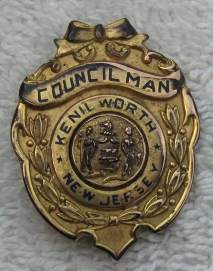 "1930's Vintage ""CITY OF KENILWORTH, NJ. COUNCILMAN"" Badge"