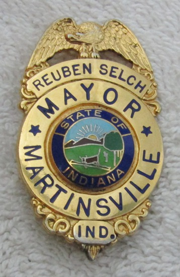 "1970's Vintage ""MARTINSVILLE, IND. MAYOR "" Badge-Reuben Selch"