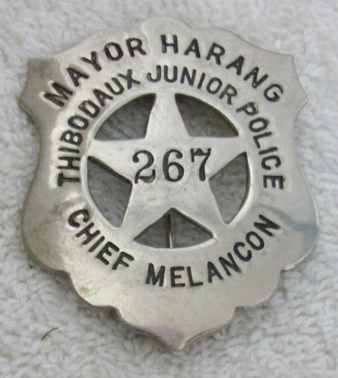 "Late 1960's Vintage ""THIBODAUX, LA. JUNIOR POLICE"" badge-Numbered-Mayor Harang"