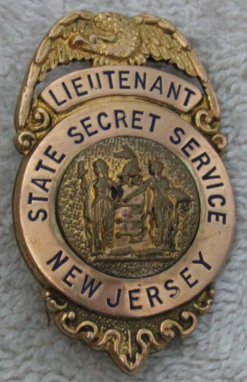 "1920-30's Vintage ""NEW JERSEY STATE SECRET SERVICE LIEUTENANT"" Badge-Reverse Name Engraved"