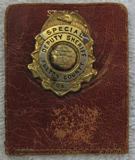 "1940-50's Vintage ""FULTON COUNTY, GA. SPECIAL DEPUTY SHERIFF"" Pocket Badge"