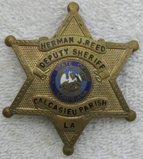 "1930-40's Vintage ""CALCASIEU PARRISH, LA. DEPUTY SHERIFF"" 6 Point Star Badge-Named"