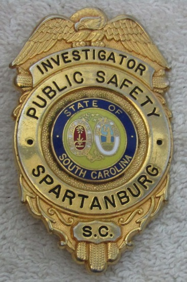 "1950-60's Vintage ""SPARTANBURG, S.C. PUBLIC SAFETY INVESTIGATOR"" Badge"