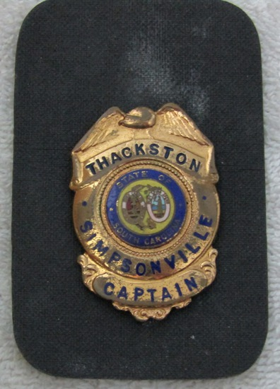 "Ca. 1950-60's ""SIMPSONVILLE, S.C. POLICE CAPTAIN"" Pocket Clip Badge-Named-THACKSTON"