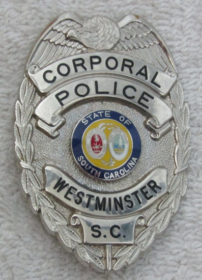 """Ca. 1950-60's """"WESTMINSTER, S.C. POLICE CORPORAL"""" Badge"""