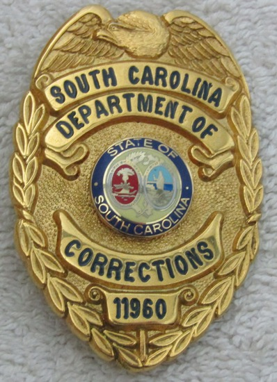 "Ca. 1960's ""SOUTH CAROLINA DEPT. OF CORRECTIONS"" Gold Badge-Numbered"