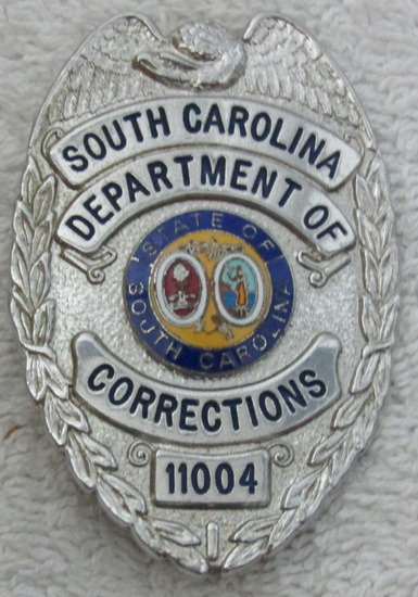 "Ca. 1960's ""SOUTH CAROLINA DEPT. OF CORRECTIONS"" Silver Badge-Numbered"