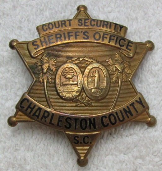 "Ca. 1930-40's "" CHARLESTON CTY., S.C. COURT SECURITY/SHERIFF'S OFFICE"" 6 Point Star Badge"