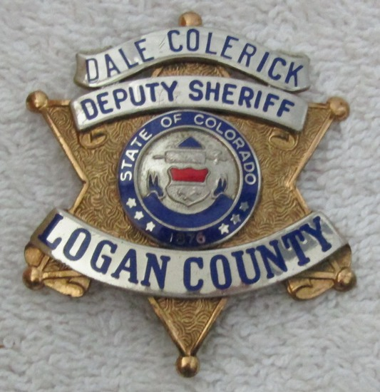 "1950-60's Vintage  ""LOGAN COUNTY COLORADO DEPUTY SHERIFF"" 6 Point Star Badge-Named"
