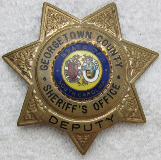 "Ca. 1930-40's ""GEORGETOWN COUNTY, S.C. SHERIFF'S OFFICE"" 7 Point Star Badge"