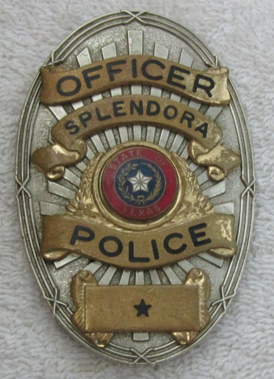 "Ca. 1940-50's ""CITY OF SPLENDORA, TEXAS POLICE OFFICER"" Badge"
