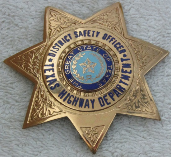 "Ca. 1970-Early 90's ""TEXAS HWY DEPT. DISTRICT SAFETY OFFICER"" 7 Point Star Badge-Reverse Signed"