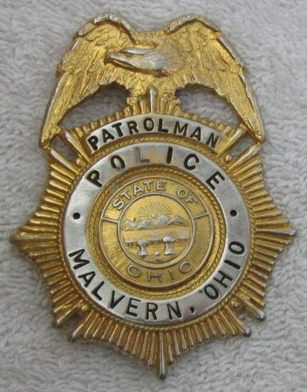 "Ca. 1930-40's ""CITY OF MALVERN, OHIO POLICE PATROLMAN"" Badge"