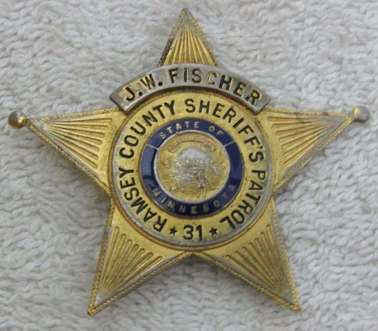 "Ca. 1930-40's ""RAMSEY CTY., MINNESOTA COUNTY SHERIFF'S PATROL"" 5 Point Star Badge-Named"