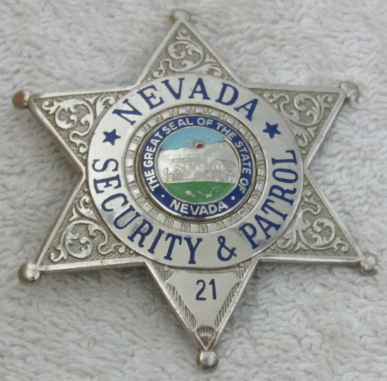 "Ca. 1940-50's ""STATE OF NEVADA SECURITY & PATROL"" 6 Point Star Badge-Numbered"