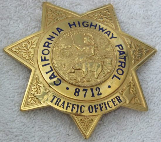 "Ca. 1950-60's ""CALIFORNIA HWY PATROL TRAFFIC OFFICER"" 7 Point Star Badge-Numbered"