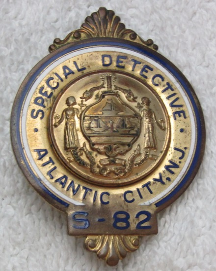 "Ca. 1940-50's ""ATLANTIC CITY, NJ SPECIAL DETECTIVE"" Numbered Badge (S-82)"