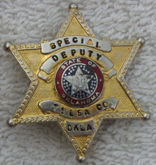 "1930-40'S Vintage ""TULSA COUNTY, OK. SPECIAL DEPUTY SHERIFF"" 6 Point Star Badge"