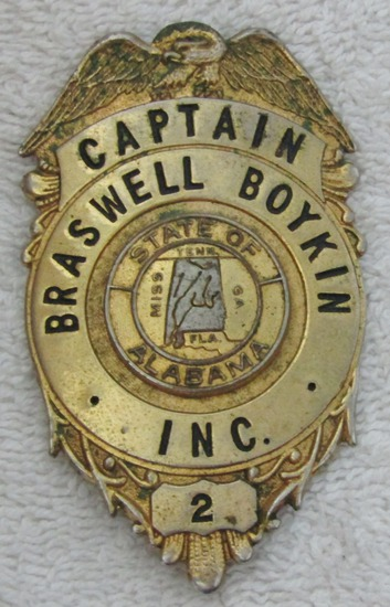 "Ca. 1960-70's ""BRASWELL & BOYKIN INC. CAPTAIN""  Badge-Alabama Private Security Firm-Numbered"