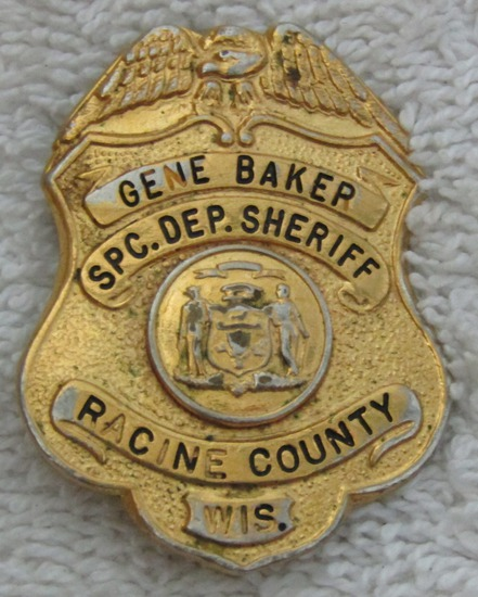 "Ca. 1940-50's ""RACINE COUNTY, WISCONSIN SPC. DEP. SHERIFF"" Badge-Named"