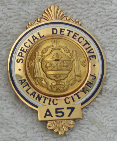 "Ca. 1940-50's ""ATLANTIC CITY SSPECIAL DETECTIVE"" badge-Numbered (A57)"