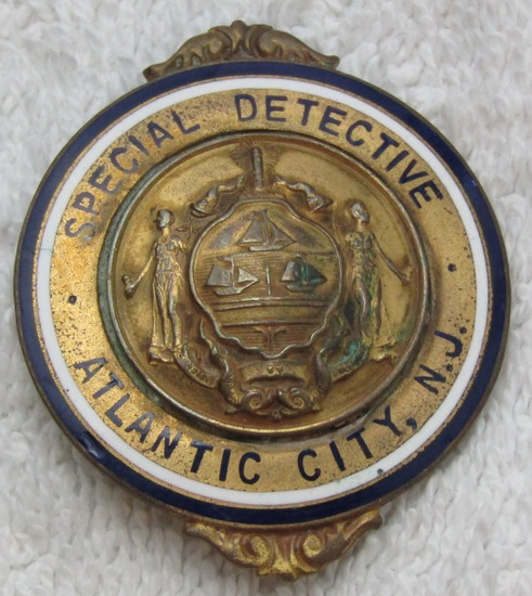"Ca. 1920-30's ""ATLANTIC CITY SPECIAL DETECTIVE"" Un-Numbered Badge"