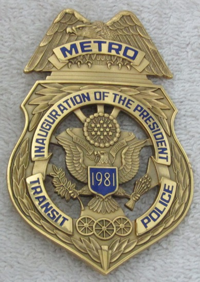 "Scarce 1981 REAGAN Presidential Inauguration ""METRO TRANSIT POLICE"" Badge-Numbered"