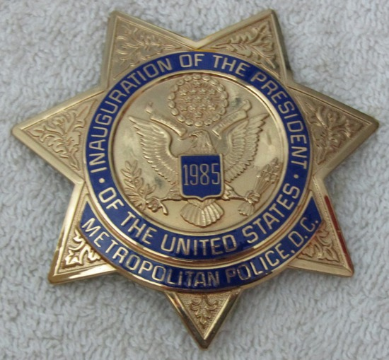 "Scarce 1985 REAGAN Presidential Inauguration ""D.C. METROPOLITAN POLICE"" 7 point Star Badge-Numbered"