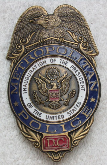 "Scarce 1993 CLINTON Presidential Inauguration ""D.C. METROPOLITAN POLICE"" Badge-Numbered"