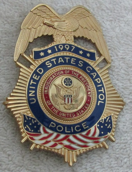 "Scarce 1997 CLINTON Presidential Inauguration ""U.S. CAPITOL POLICE"" Badge-Numbered"