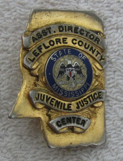 "1940-50's Vintage ""LEFLORE COUNTY, MS. JUVENILE JUSTICE CENTER-ASST. DIRECTOR"" Badge"