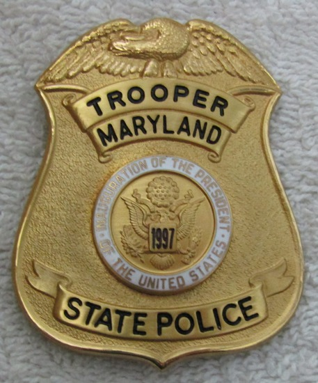 "Scarce 1997 CLINTON Presidential Inauguration ""MARYLAND STATE POLICE TROOPER"" Badge-Numbered"