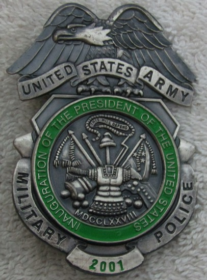 "Scarce 2001 GW BUSH Presidential Inauguration ""U.S. ARMY MILITARY POLICE"" Badge"