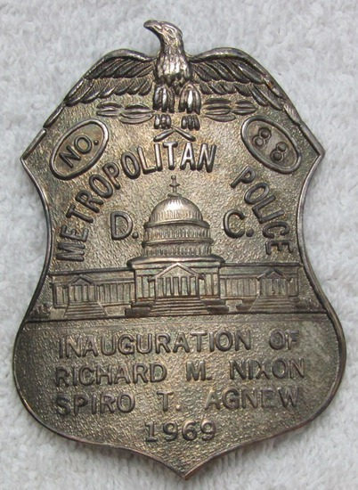 "Rare 1969 NIXON/AGNEW Presidential Inauguration ""D.C. METRO POLICE"" Badge-Numbered"