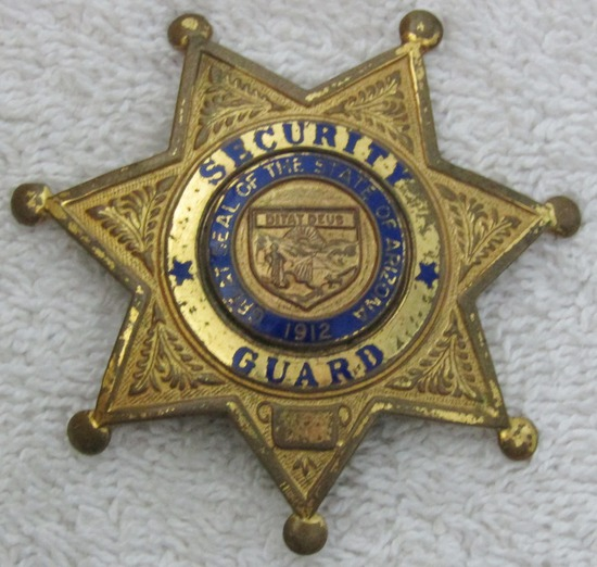 "1940-50's Vintage ""ARIZONA SECURTY GUARD"" 7 Point Star Badge"