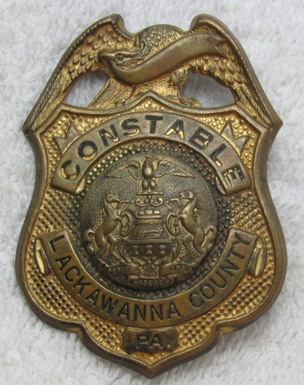 "Ca. Early 1900's ""LACKAWANNA COUNTY, PA CONSTABLE"" Badge"