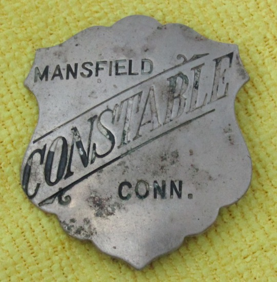 "Ca. 1920-30's ""MANSFIELD, CONN. CONSTABLE"" Badge"