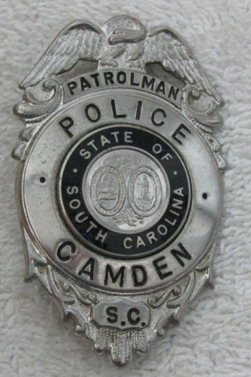 "1950-60's Vintage ""CITY OF CAMDEN, SC. POLICE PATROLMAN"" Badge"