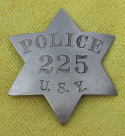 "Rare! Ca. Early 1900's ""CHICAGO UNION STOCK YARD (U.S.Y.)  POLICE"" Badge-Numbered"