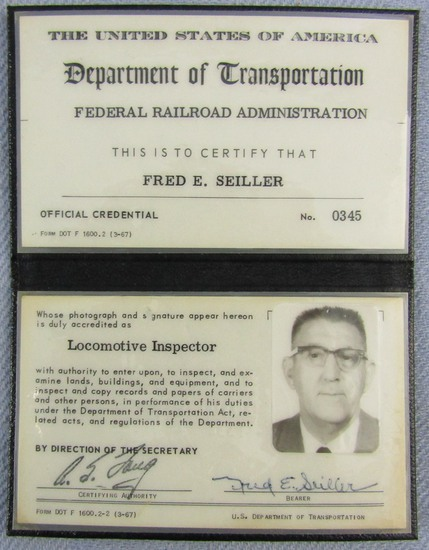 "Ca. 1960's ""U.S. FEDERAL DEPT. OF TRANSPORTATION PHOTO ID WALLET FOR LOCOMOTIVE INSPECTOR"""