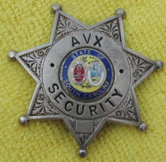 "ca. Early 1970's ""SOUTH CAROLINA AVX (Industrial Corp) SECURITY"" Badge"