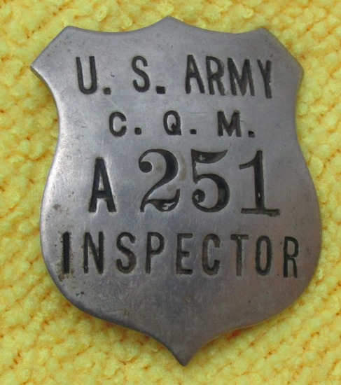 "Rare WW2 Period ""U.S. ARMY C.Q.M. INSPECTOR"" Badge-Numbered ""A 251"""