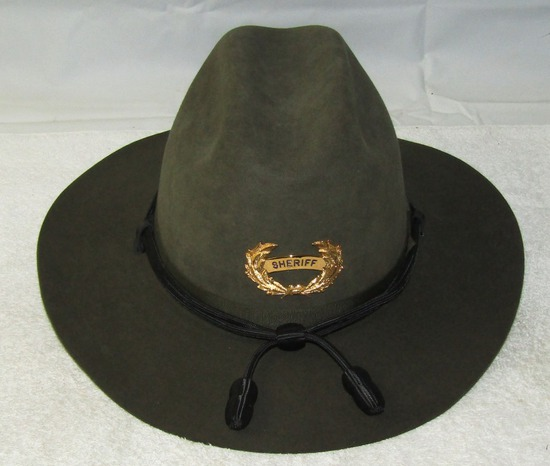 Ca.1970-80's High Quality Fur Campaign Style Hat With Sheriff's Badge