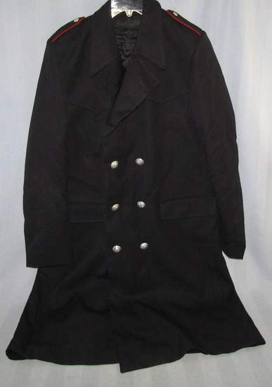 Ca. 1950-60's Italian Police Overcoat With Removeable Zipper  Lining