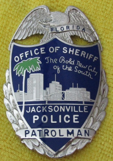 "Ca. 1960-70's ""JACKSONVILLE, FL. POLICE PATROLMAN (OFFICE OF THE SHERIFF)"" Badge-Numbered"