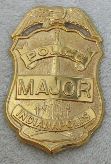 "Ca. 1960-70' ""INDIANAPOLIS, IN. POLICE BADGE FOR MAJOR"" Gold Badge"
