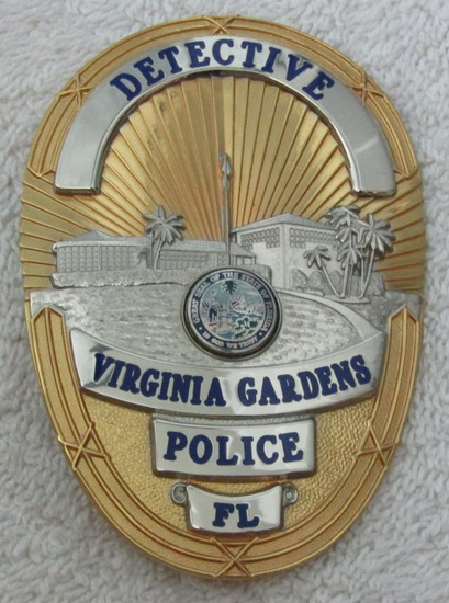 "Ca. 1960-70's ""VIRGINIA GARDENS, FL. DETECTIVE"" Badge"