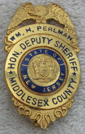 "1940-50's Vintage ""MIDDLESEX COUNTY, NJ. HON. DEPUTY SHERIFF"" Badge-Named-Perlman"