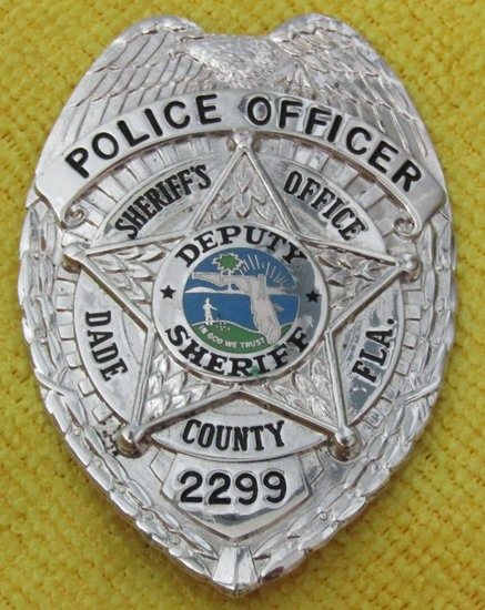 "Ca. 1950-60's ""DADE COUNTY, FL. SHERIFFS OFFICE POLICE OFFICER"" Badge-Numbered"